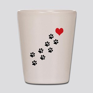 Paw Prints To My Heart Shot Glass