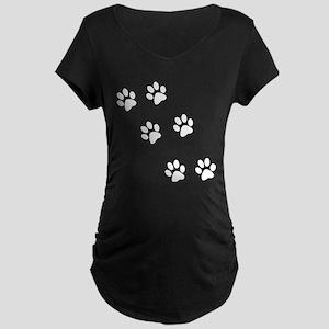Walking Pawprints Maternity Dark T-Shirt