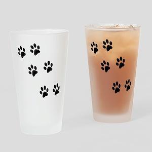 Walking Pawprints Drinking Glass