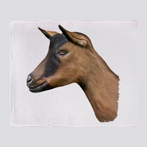 Oberhasli Goat Portrait Throw Blanket