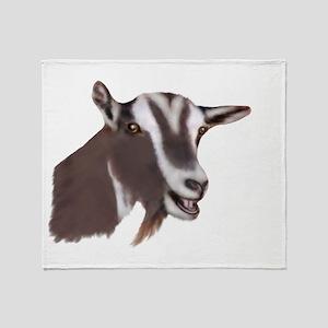 Toggenburg Goat Portrait Throw Blanket