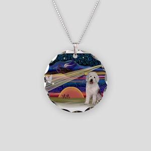 XmasStar/Old English Pup Necklace Circle Charm