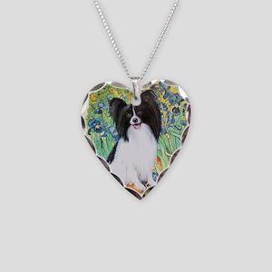 Irises & Papillon Necklace Heart Charm