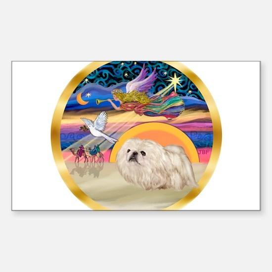 XmasStar/Pekingese (w) Sticker (Rectangle)