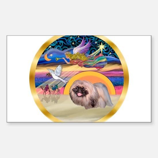 XmasStar/Pekingese #10 Sticker (Rectangle)