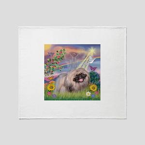 Cloud Angel & Pekingese Throw Blanket