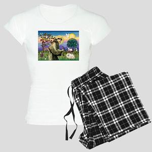St Francis & white Peke Women's Light Pajamas