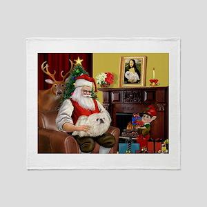 Santa's Pekingese (4W) Throw Blanket