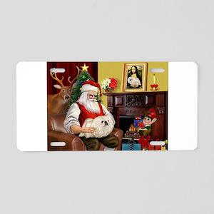 Santa's Pekingese (4W) Aluminum License Plate