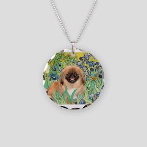 Irises / Pekingese (#1) Necklace Circle Charm