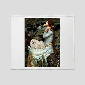 Ophelia & her white Peke (#1) Throw Blanket