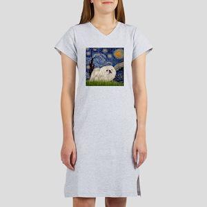 Starry Night white Peke Women's Nightshirt