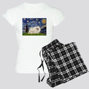 Starry Night white Peke Women's Light Pajamas