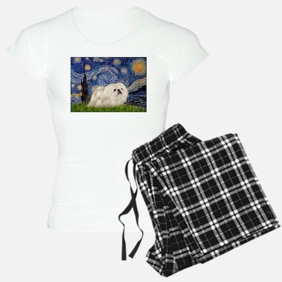 Starry Night white Peke Pajamas