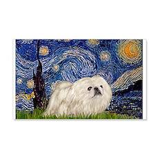 Starry Night white Peke 22x14 Wall Peel