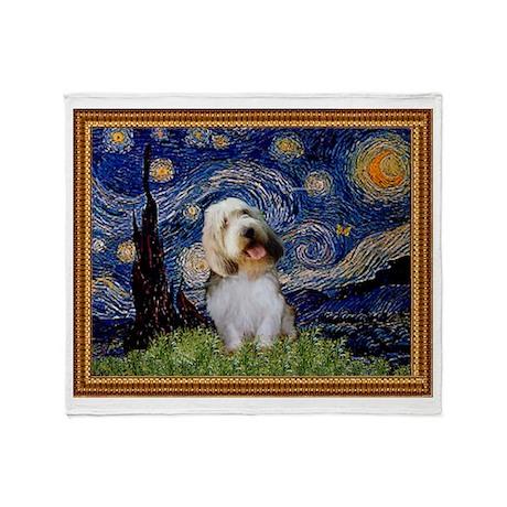 Starry Night PBGV Throw Blanket