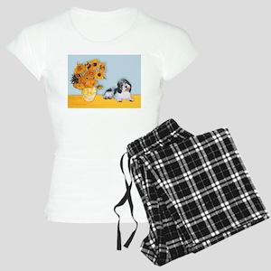 Sunflowers/ Petit Basset #8 Women's Light Pajamas