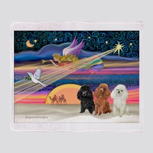 Xmas Star & Poodle trio Throw Blanket