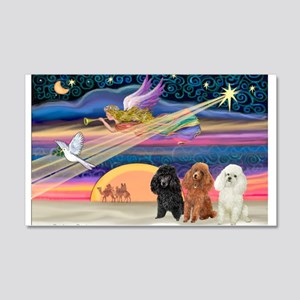 Xmas Star & Poodle trio 22x14 Wall Peel