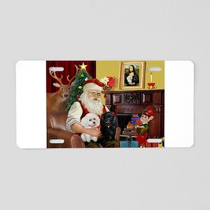 Santa's Poodle Pair 1b,1w Aluminum License Plate