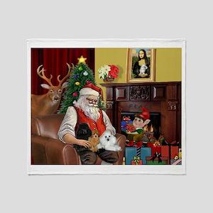 Santa's Poodle Trio Throw Blanket