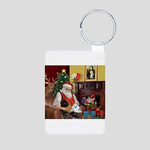 Santa's Poodle Trio Aluminum Photo Keychain