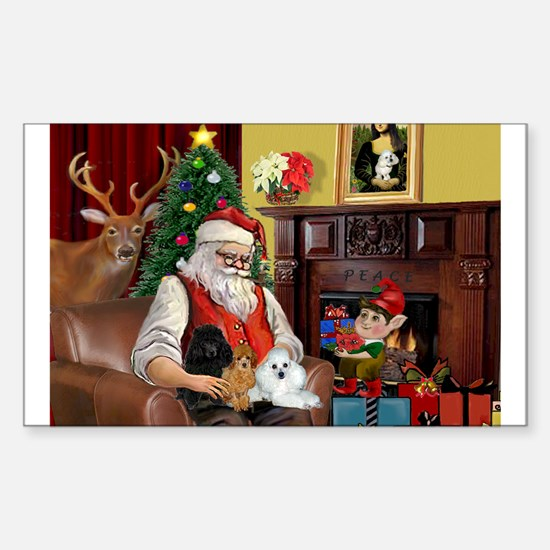 Santa's Poodle Trio Sticker (Rectangle)