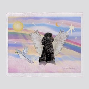 Angel/Poodle(blk Toy/Min) Throw Blanket
