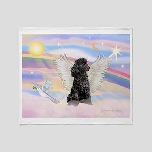 Angel/Poodle(blk Toy/Min) Throw Blanket