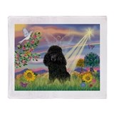 Black poodle Fleece Blankets