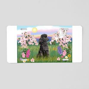 Blossoms/Poodle (miniature #2 Aluminum License Pla