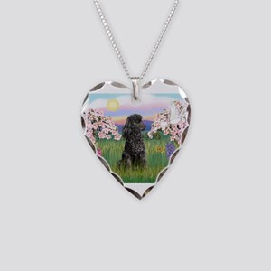 Blossoms/Poodle (miniature #2 Necklace Heart Charm