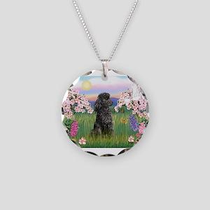 Blossoms/Poodle (miniature #2 Necklace Circle Char