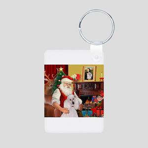 Santa's Std Poodle(w) Aluminum Photo Keychain
