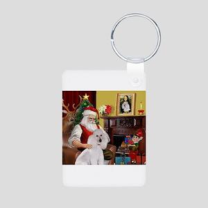 Santa's Poodle (ST-W1) Aluminum Photo Keychain