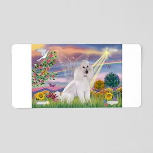 Cloud Angel White Poodle (ST) Aluminum License Pla