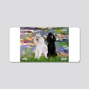 3 Poodles in Lilies Aluminum License Plate