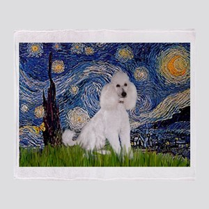 Starry Night White Poodle (ST Throw Blanket