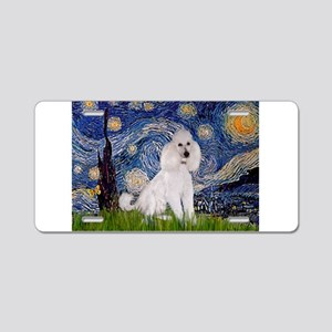 Starry Night White Poodle (ST Aluminum License Pla