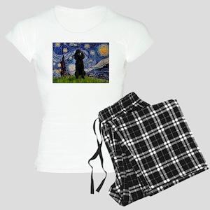 Starry Night Black Poodle (ST Women's Light Pajama