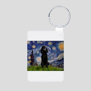 Starry Night Black Poodle (ST Aluminum Photo Keych