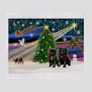Xmas Magic & 2 Black Pugs Throw Blanket