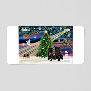 Xmas Magic & 2 Black Pugs Aluminum License Pla