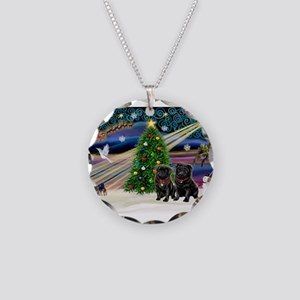 Xmas Magic & 2 Black Pugs Necklace Circle Char