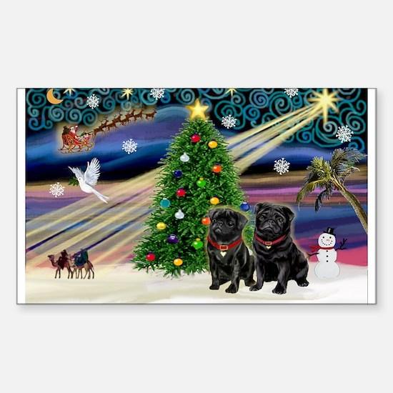 Xmas Magic & 2 Black Pugs Sticker (Rectangle)