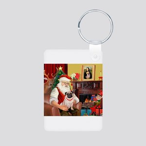 Santa's fawn Pug (#21) Aluminum Photo Keychain