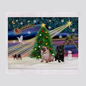 X Mas Magic & Pug Pair Throw Blanket