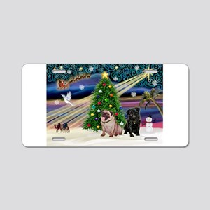 X Mas Magic & Pug Pair Aluminum License Plate