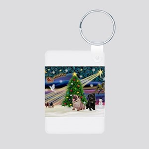 X Mas Magic & Pug Pair Aluminum Photo Keychain