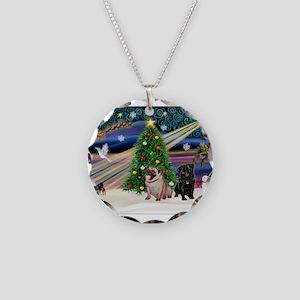 X Mas Magic & Pug Pair Necklace Circle Charm